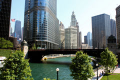 Vista della città del fiume del Chicago immagini stock libere da diritti