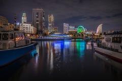 Vista della città del Giappone Yokohama alla notte immagini stock