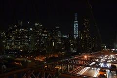 Vista della città del ponte di Brooklyn Immagine Stock