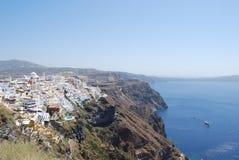 Vista della città dell'isola di Fira Santorini fotografia stock libera da diritti