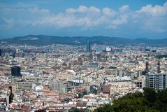 Vista della città dell'orizzonte di Barcellona immagine stock