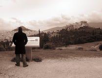 Vista della città di Atene dalla collina di Philopappou fotografia stock