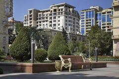 Vista della città di Bacu l'azerbaijan fotografie stock libere da diritti