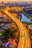 Vista della città di Bangkok con la superstrada Immagini Stock Libere da Diritti
