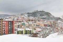 Vista della città di Campobasso nevosa Fotografie Stock Libere da Diritti