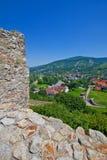 Vista della città di Devin dal castello di Devin. La Slovacchia Fotografia Stock Libera da Diritti