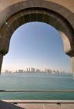 Vista della città di Doha dal museo di arte islamica immagini stock libere da diritti