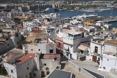 Vista della città di Eivissa immagini stock