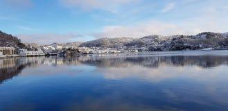 Vista della città di Flekkefjord fotografia stock