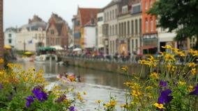 Vista della città di Gand, Belgio, 4k stock footage