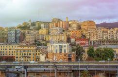 Vista della città di Genova in Italia fotografia stock libera da diritti