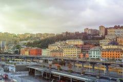 Vista della città di Genova in Italia fotografie stock