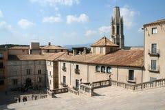 Vista della città di Gerona in Spagna Fotografia Stock Libera da Diritti