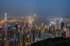 Vista della città di Hong Kong alla notte Fotografie Stock Libere da Diritti