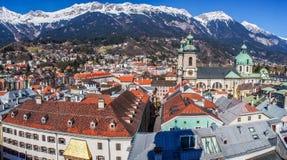 Vista della città di Innsbruck dal tetto Fotografia Stock
