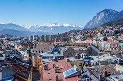 Vista della città di Innsbruck dal tetto Immagine Stock Libera da Diritti