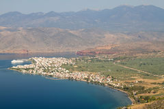 Vista della città di Itea Fotografie Stock Libere da Diritti