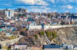 Vista della città di Levis da Québec, Canada Fotografia Stock