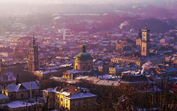 Vista della città di Lviv Immagine Stock