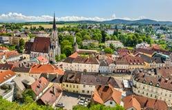 Vista della città di Melk dall'abbazia l'austria immagini stock libere da diritti