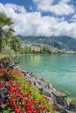 Vista della città di Montreux sul lago Lemano Fotografia Stock