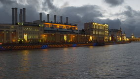 Vista della città di Mosca Russia alla notte archivi video