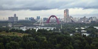 Vista della città di Mosca Russia nella sera Immagine Stock