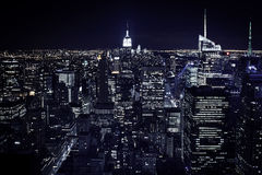 Vista della città di notte di New York Fotografie Stock Libere da Diritti