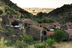Vista della città di Patones de Arriba, Madrid, Spagna Fotografie Stock