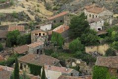 Vista della città di Patones de Arriba, Madrid, Spagna Fotografia Stock