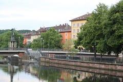 Vista della città di Pforzheim in Germay con il fiume del enz Immagini Stock Libere da Diritti