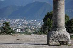Vista della città di Pompei dal sito storico di rovine Fotografia Stock Libera da Diritti