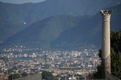 Vista della città di Pompei dal sito storico di rovine Immagine Stock Libera da Diritti