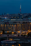 Vista della città di Praga nella notte, repubblica Ceca Fotografia Stock Libera da Diritti