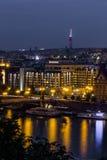 Vista della città di Praga nella notte, repubblica Ceca Immagine Stock