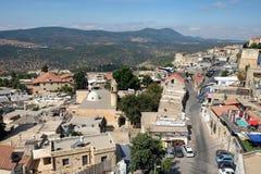 Vista della città di Safed e del supporto Meron Fotografia Stock