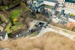 Vista della città di Salisburgo dalla fortezza Hohensalzburg in Austria, tempo di primavera Immagini Stock Libere da Diritti