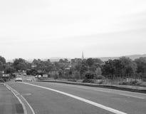 Vista della città di Salisbury in bianco e nero immagine stock