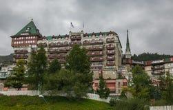 Vista della città di Sankt Moritz nelle alpi della Svizzera Fotografia Stock Libera da Diritti