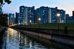 Vista della città di Singapore HDB Fotografie Stock