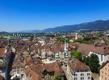 Vista della città di Soletta in Svizzera Fotografie Stock