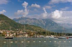 Vista della città di Teodo montenegro Fotografia Stock