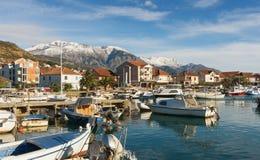Vista della città di Teodo, Montenegro Immagini Stock
