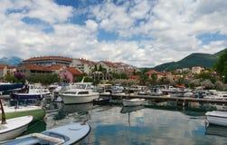 Vista della città di Teodo montenegro Fotografie Stock