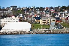 Vista della città di Tromso Immagini Stock
