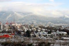 Vista della città di Vancouver dopo neve Immagini Stock Libere da Diritti