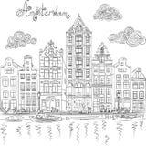 Vista della città di vettore del canale di Amsterdam royalty illustrazione gratis