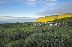 Vista della città di Vik, Islanda Fotografia Stock