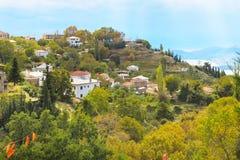 Vista della città di Volos dal supporto di Pelio, Grecia Immagini Stock
