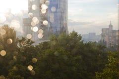 Vista della città dopo pioggia Fotografia Stock